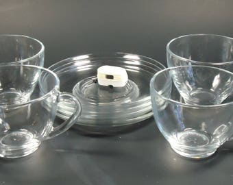 arcoroc france clear glass cups and saucers