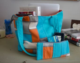 Geometric Tote Bag with Matching Zipper Pouch, Turquoise and Orange Tote Bag