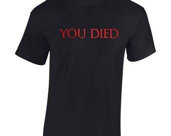You Died Dark Souls Men's T-shirt for gamers. Red Metallic Overprint!