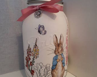 Peter Rabbit: storage jar for new baby or christening gift.