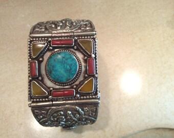 Tribal Brecelat,Antique silver cuff,Lapiz ,Jade