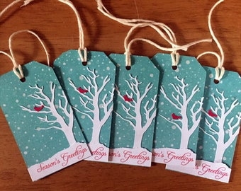 Snowy Tree with Cardinal Gift Tags