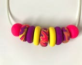 Yellow, purple and pink polymer clay vegan necklace