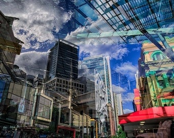 Multiple Exposure of Brisbane City II Print