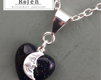 Blue Goldstone Heart & Moon Pendant and Silver Plated Chain