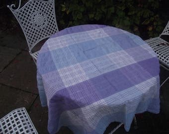 Vintage blue and lilac check tablecloth