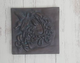 Capricorn Earth Sign, Zodiac home decor, Astrology plaque, Ceramic Astrological sign, goat, Horoscope, unique, Celtic knot, gift, ceramic
