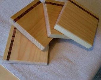 Wooden inlay coaster set