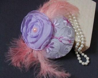 """Bibi"" hat / fascinator - embroidered flowers"