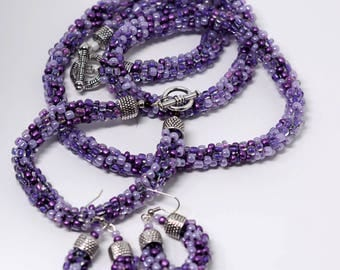 Purple Kumihimo Necklace Set.