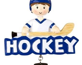 Hockey (Boy) Personalized Christmas Ornament