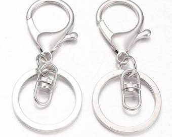 Silver / Platinum Lobster Swivel Clasps on Key Ring - Pack of 10 Swivel Clasps with Keyring Silver / Platinum