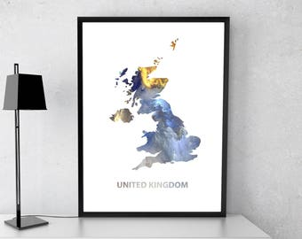 United Kingdom poster, United Kingdom art, United Kingdom map, United Kingdom print, Gift print, Poster