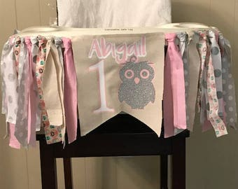 Owl Birthday Banner. Silver and Pink Birthday. Owl love you