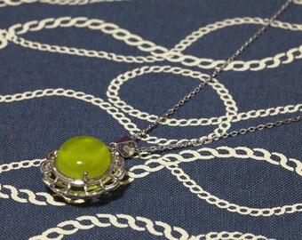 prehnite pendant, natural prehnite pendant, prehnite necklace, golden prehnite, gift, valentine