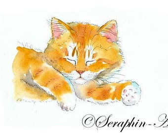 Sleeping Ginger Kitten Original Watercolor Painting