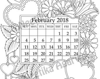 february 2018 coloring page calender planner doodle flowers instant download - February Coloring Pages