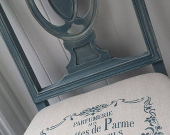 French style occasional chair with stencilled covered seat (delivery quote available on request)