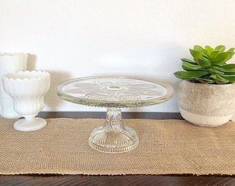 Vintage Crystal Clear Glass Pedastal Cake Stand Plate