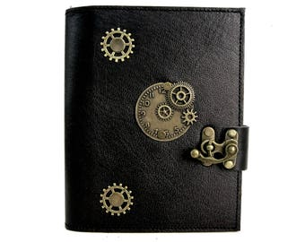 Leather journal notebook on black steampuk style