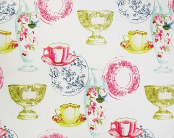 Golding ESTATE Print MULTI Teacups Saucers Plates Home Decor Drapery Upholstery Sewing Fabric By the Yard