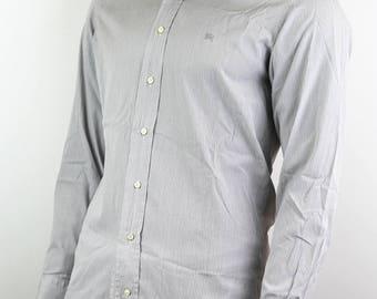 Burberry Men's Gray Striped Dress Shirt
