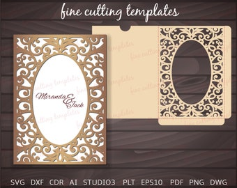 Wedding Invitation 5x7 template for cutting, pocket envelope with lace frame. Digital Download (svg, dxf, eps10, studio3), laser cut.