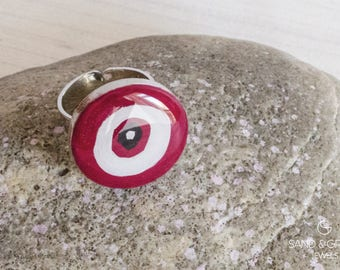 Evil eye ring, nazar red ring, statement ring, everyday adjustable ring, resin ring, OOAK ring, gift for her, christmas jewel gift