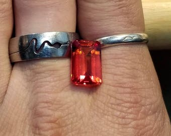 9.85 Natural Reddish Orange Sapphire 14.5 x 9.5 mm  Ring Pendant Jewelry