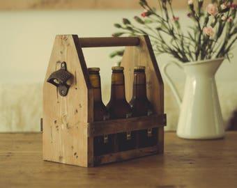 Beer Carrier Wood 6 pack - Houten bierkratje - Bottle opener - Fathers Day Present - Groom - Groomsmen - House warming gift - Housewarming