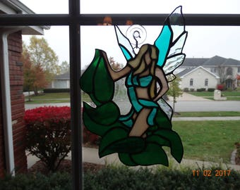 Stained glass leaf fairy