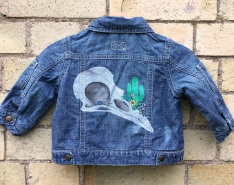 Handpainted Kid's Denim Jacket 3-6m