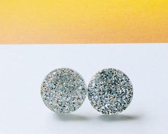 Acrylic Glitter Silver Earrings