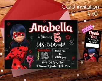 Miraculous, Miraculous invitation, Ladybug invitation, Miraculous birthday, Miraculous ladybug, Ladybug birthday party, Ladybug party