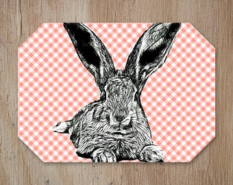 Rabbit Placemat,Easter Placemat, Easter Table,Easter Decor,Kitchen Decor, Country Pattern, Add a Fun Farmhouse Touch to your Kitchen Table.