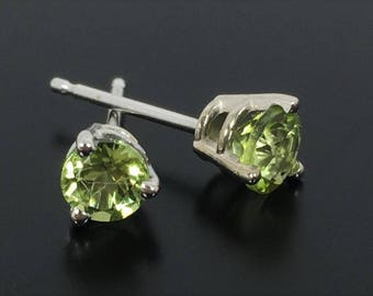Peridot Earrings, 14k White Gold Studs