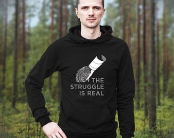 Hedgehog Hoodie: The Struggle is Real Funny Hedgehog Hooded Sweatshirt by Urchin Wear - Hedgehog Tubing - TP Tube - Hoodie