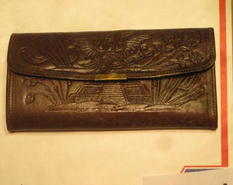 Hecho Etched Leather Wallet / Bifold Made in Mexico     [cin114bt]
