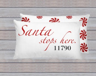 Santa Stops Here Zipcode Pillow, Zip Code Pillow, Personalized Santa Pillow, Holiday Pillow, Christmas Pillow, Holiday Home Decor