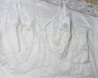 Vintage White Shadowline Nylon Full Slip  38