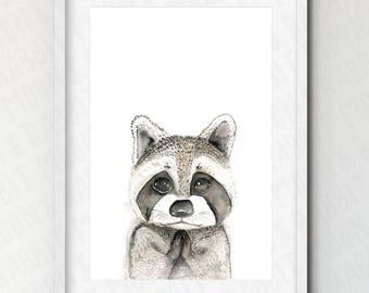 Printable Raccoon Print, Woodland Animal, Woodland Nursery Wall Art, Baby, Nursery Decor, Black and White, Gift for Kids, Instant Download