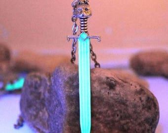 Silver Blue Illuminated Sword Glow in Dark Necklace
