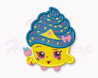 Shopkins Cupcake Queen Applique Embroidery Design, Shopkins Machine Embroidery Designs, Shopkins Birthday, Digital Instant Download, #008