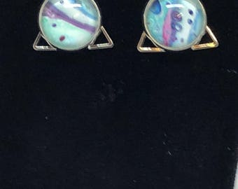 Triangle earrings - hook earrings - hand painted - triangle - purple - green - swirls - mountainmommamaker