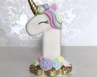 Edible unicorn number age cake topper decoration