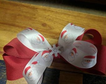Red and white Santa Christmas Bow