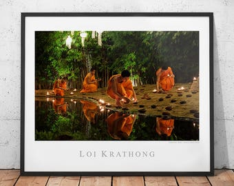 Thailand Buddhism Poster, Buddhist Monk Photography Print, Asia Wall Art, Loi Krathong Home Decor, Yi Peng Photo, Religious Ceremony Picture