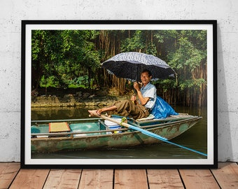 Vietnamese River Photo // Asia Travel Photography Print, Vietnam Wall Art, Asian People Home Decor, River Canoe Photograph, Travel Portrait