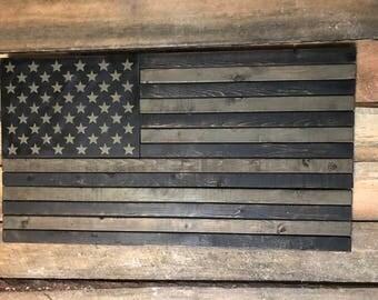 Rustic Subued Wood American Flag