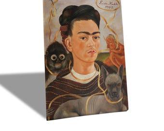 Canvas Canvas Prints-Frida Kahlo-Self-portrait with monkey-yellow BUS